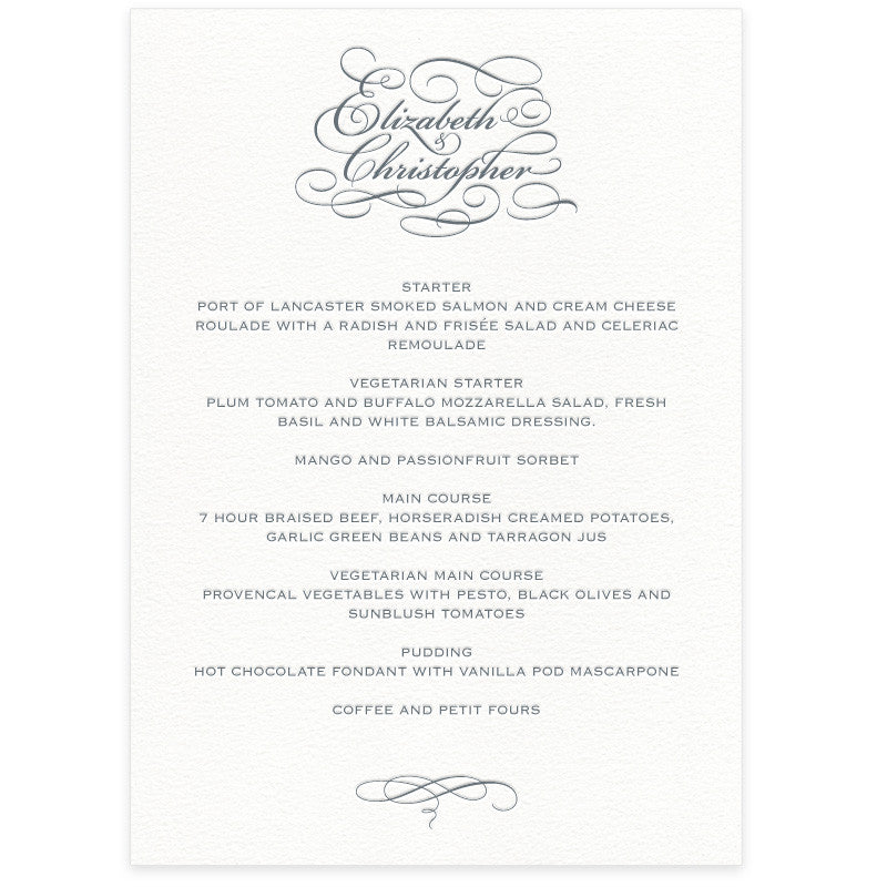 Reynolds letterpress menu