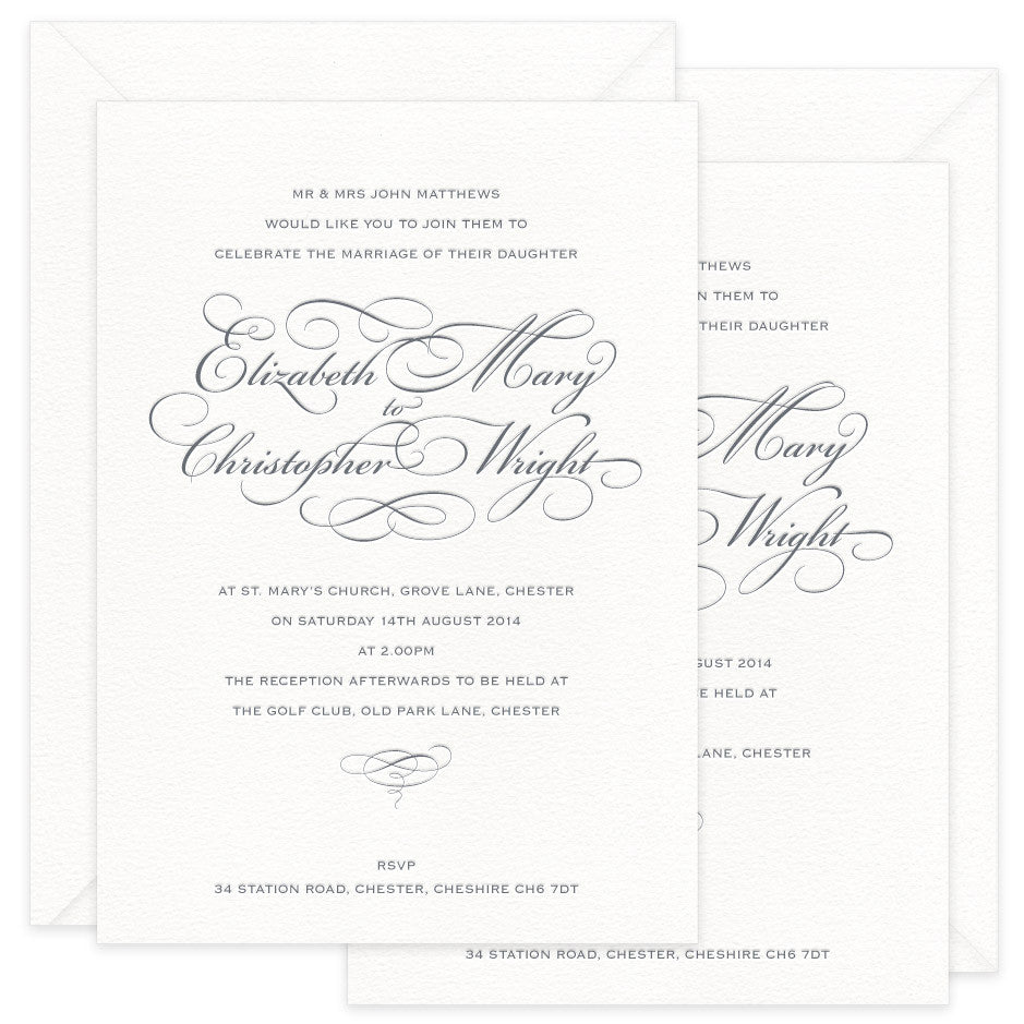 Reynolds letterpress wedding invitations