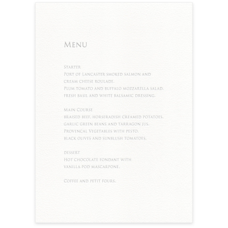Sinclair letterpress menu