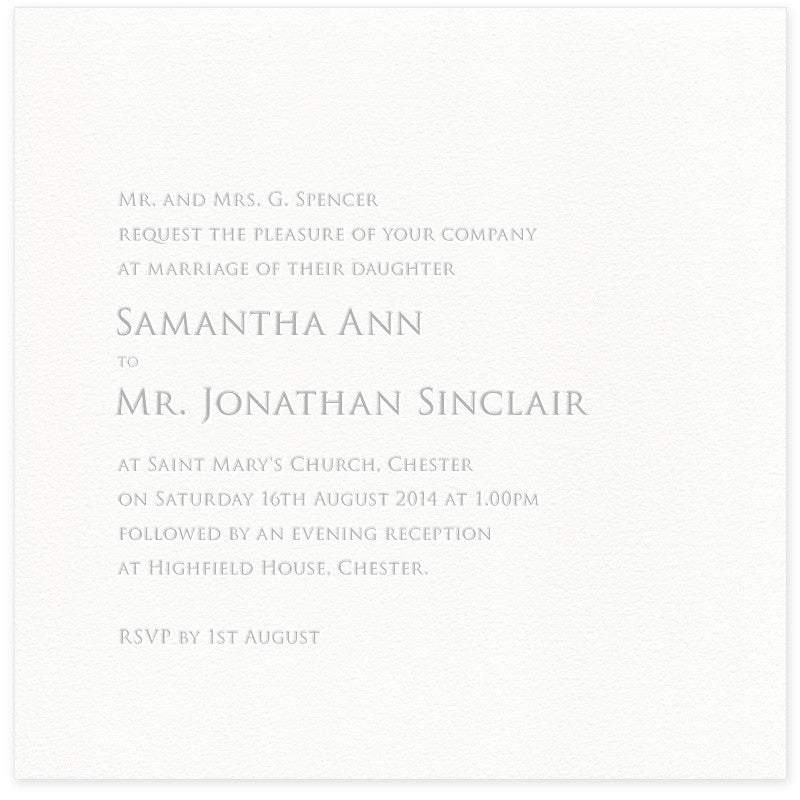 Sinclair letterpress wedding invitation