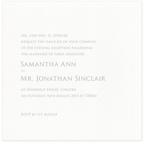 Sinclair letterpress evening invitation