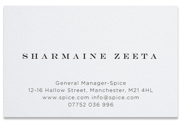 Spice letterpress personalised business card