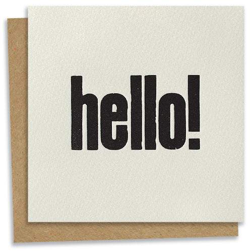 Hello! letterpress greeting card