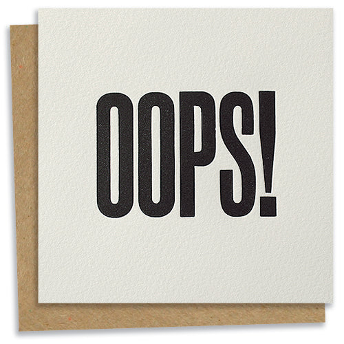 OOPS! letterpress greeting card