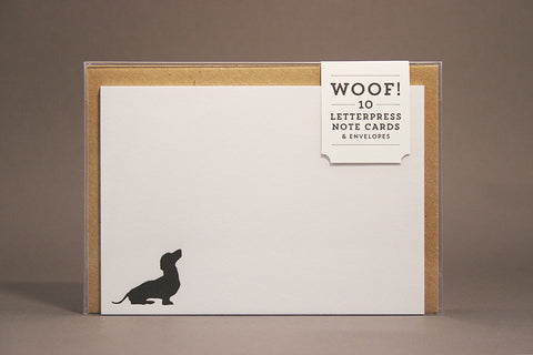 Woof letterpress printed dog note cards
