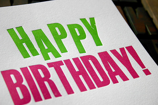 Wood type happy birthday greeting card