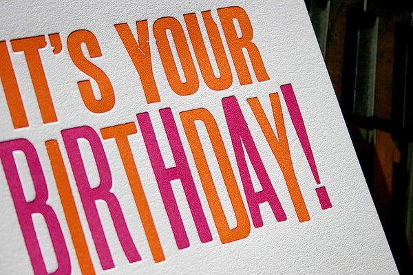Wood type birthday greeting card