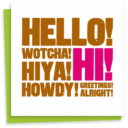 Hello letterpress greeting card