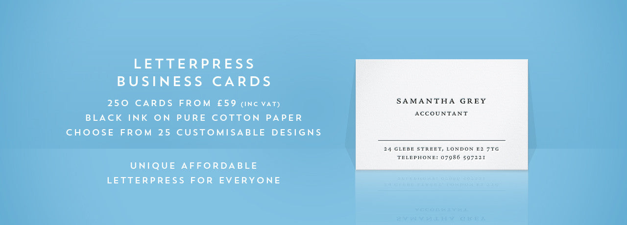 Unique letterpress business cards on cotton paper