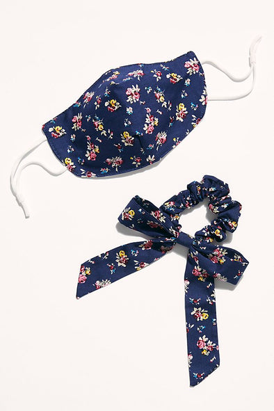 Mask & Bow Floral Pack - Navy