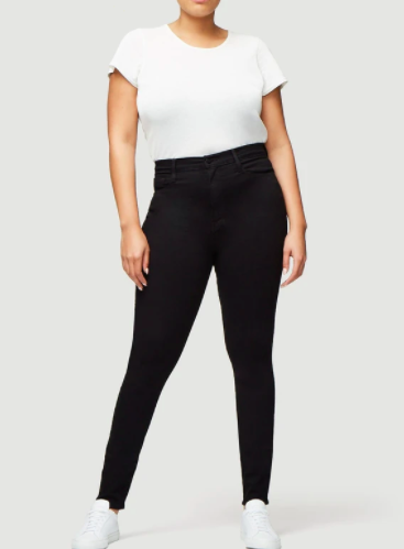 The Ultra High Rise Skinny from FRAME is a super high rise, black denim skinny jean.