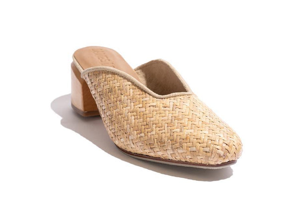 The Cafy Society Woven shoe by James Smith features a stunning woven leather upper, leather inner and sole with a wood block heel.