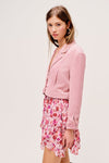 Blush coloured cropped blazer with a boxy fit and made from corduroy by For Love & Lemons.