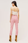 Pink high waisted pants from For Love & Lemons made from corduroy with vintage inspired yolk details.