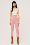 The Carson High Waist Pant by For Love & Lemons are a high waisted pant with vintage yolk details and made from blush corduroy.