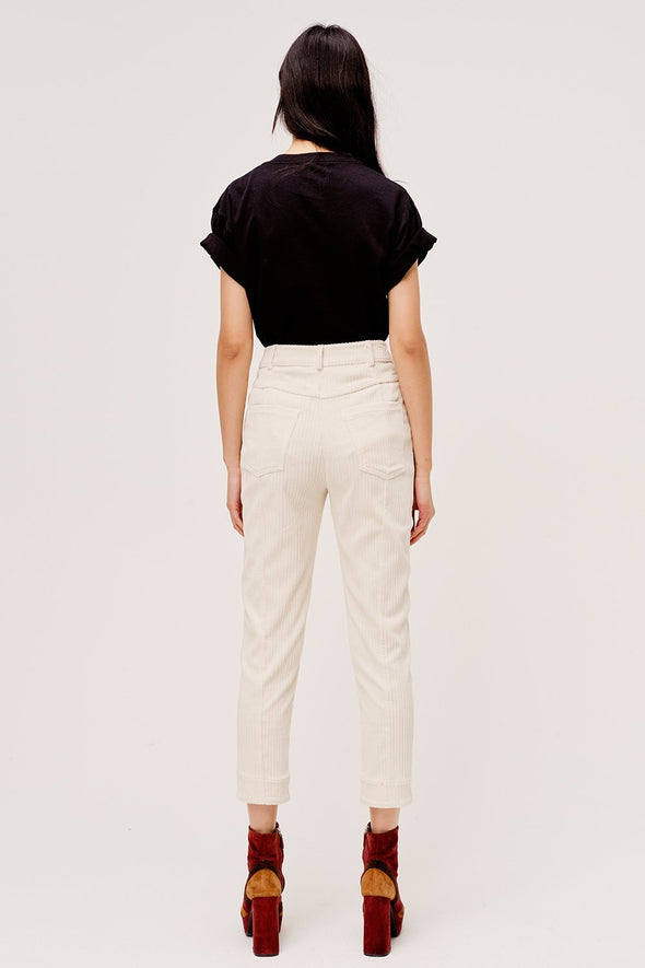 Ankle length  white corduroy pants by For Love & Lemons.