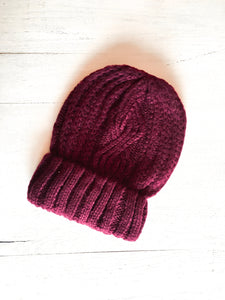 Harlow Cable Knit Beanie Wine