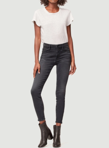 High rise grey skinny jeans from Frame with slightly distressed details.
