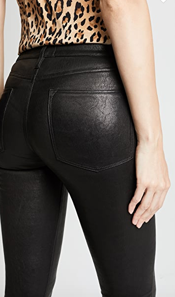 Back pockets on the black lambskin Le High Skinny Leather Pant from FRAME.