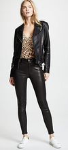 Black leather skinny jeans from FRAME made from lambskin with an ankle length, high waisted fit.