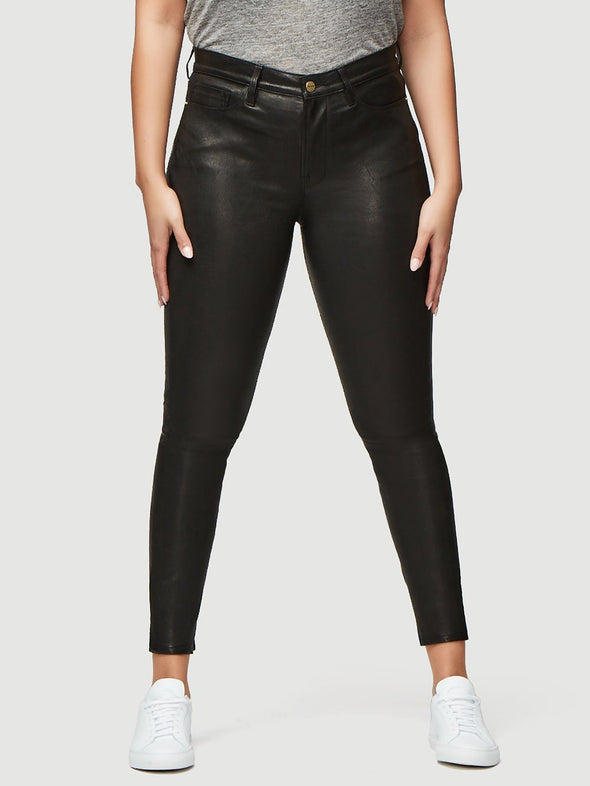 Lined, black leather pants from FRAME in a skinny, ankle length fit.