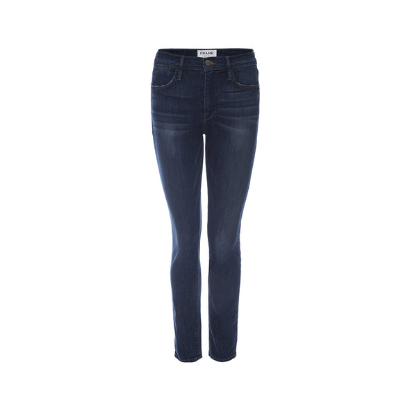 The Le High Skinny York jeans from FRAME are a high waisted denim jean in a dark blue wash perfect for transitioning into fall.