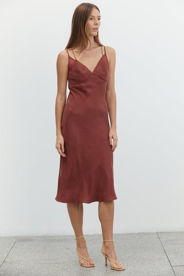 Shadow Play Bias Slip Dress - Rust