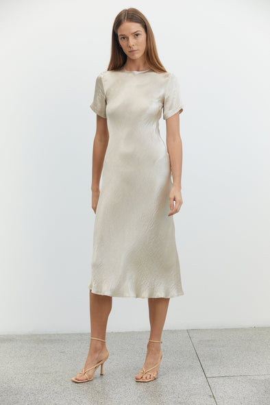 River Bed Bias Midi Tee Dress - Sand