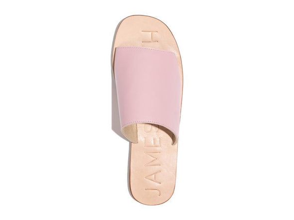 The perfect pool side slide from James Smith. The quality Off Duty sandal in Pale Pink leather is a summer favorite.