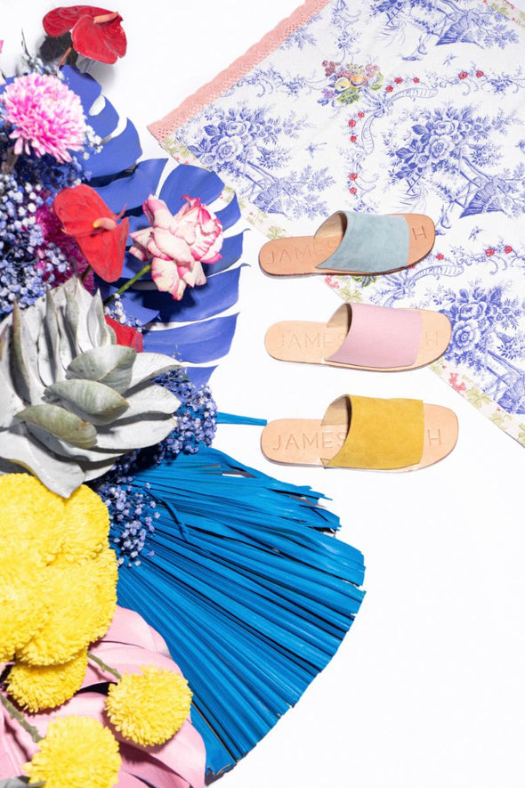 The Off Duty Slide from James Smith is the perfect pool side sandal. Vibrant colours and soft leather or suede slide.