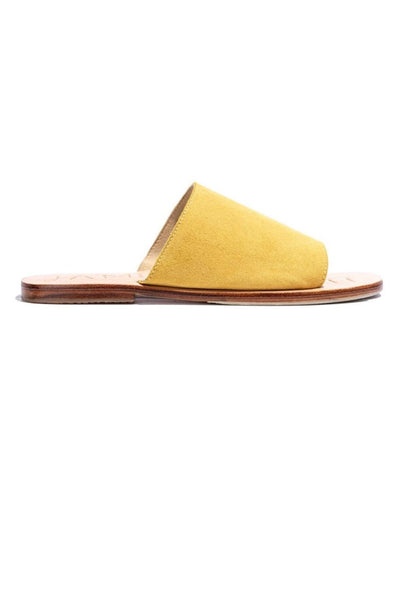 The Off Duty Yellow Suede Slide by James Smith is a perfect summer sandal. The yellow suede upper strap adds a punch of colour