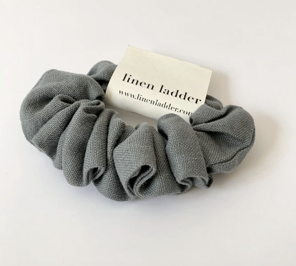 Heather Grey Linen Scrunchie