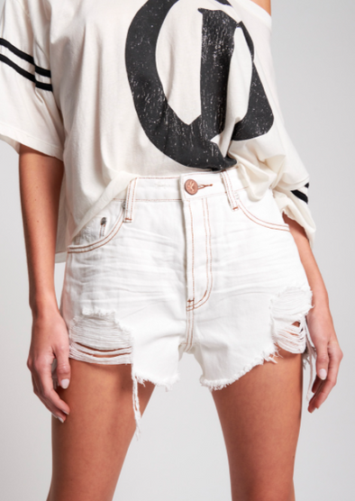 White Beauty Truckers Mid-Waist Relaxed Shorts