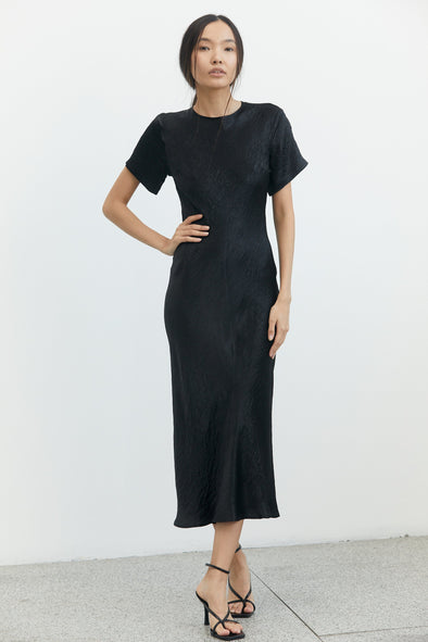 River Bed Bias Midi Tee Dress - Black