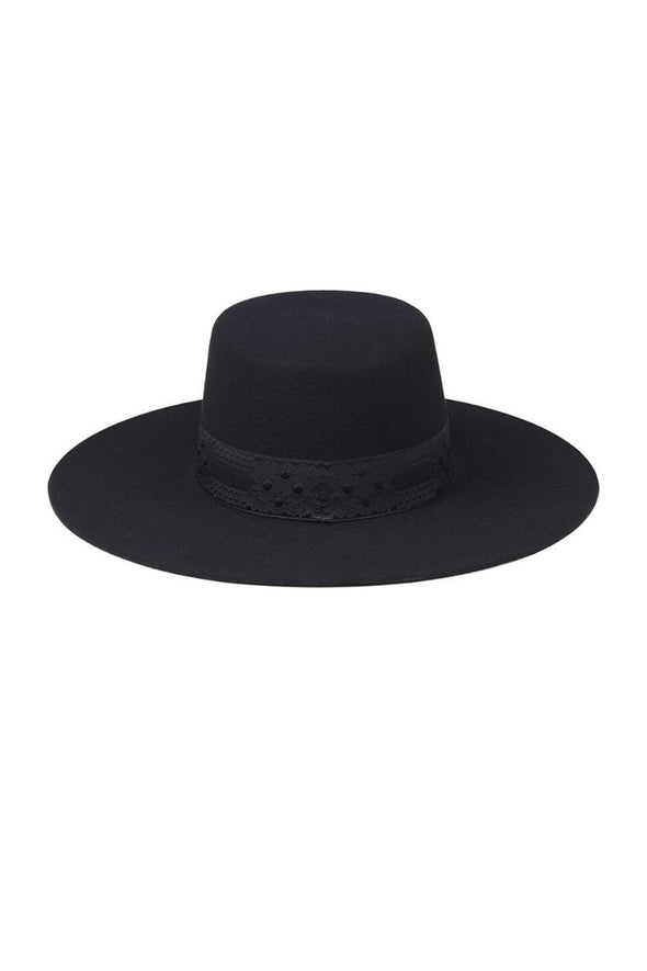 The wide-brimmed boater style is luxurious and super stylish. Transform any outfit with The Sierra hat from Lack of Color. 100% Australian wool with vintage 1950s ribbon.