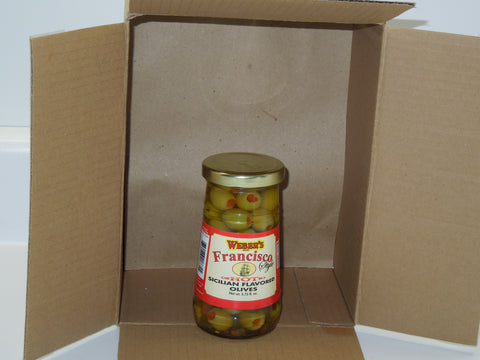 "Weber's ""Francisco Style"" Hot Sicilian Flavored Olives (5.75oz) Glass"