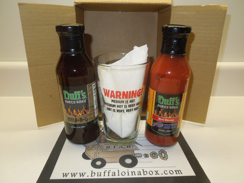 Duff's Famous Wings Buff-N-Box- Pint Glass + Wing Sauce & BBQ Sauce
