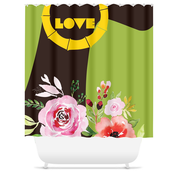 Spring Bamboo: Love - Shower Curtain