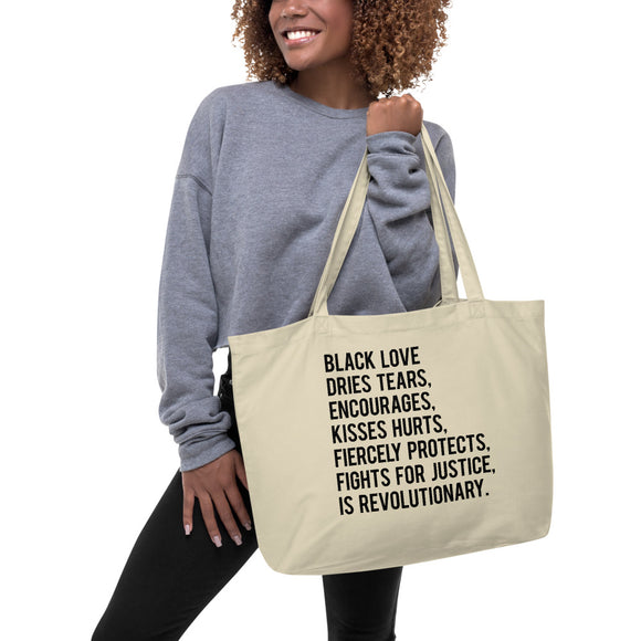 Black Love Is... Large organic tote bag