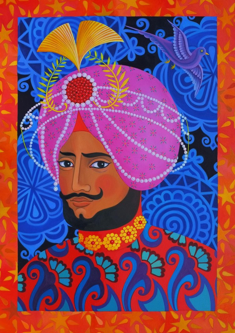 'Maharaja with pink turban' card