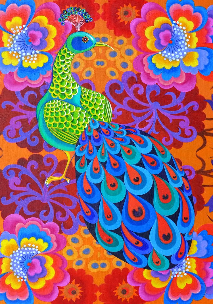 'Peacock with flowers' card