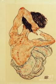 Egon Schiele - Female Nude Seen From Behind