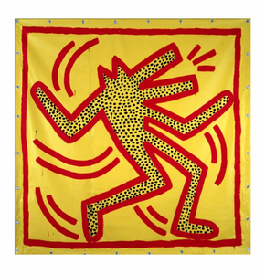 Keith Haring - Untitled, 1982 (red dog on yellow)