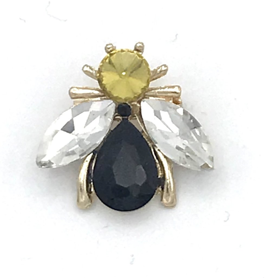 Luna bee pin black - recycled glass