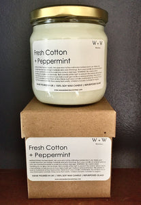 Fresh Cotton + Peppermint Soy Wax candle
