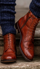 spanish brogue boots tan boots festival boots the spanish boot company