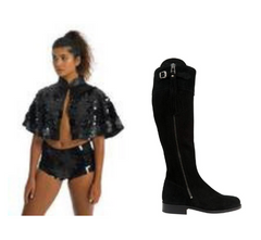 spanish riding boots suede black suede boots black sequin cape