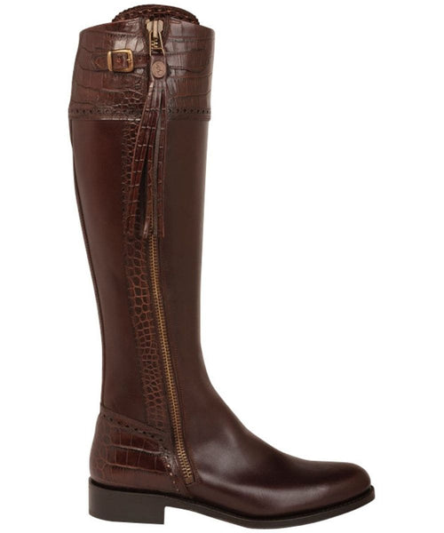 spanish boot company spanish riding boots mock croc chocolate brown