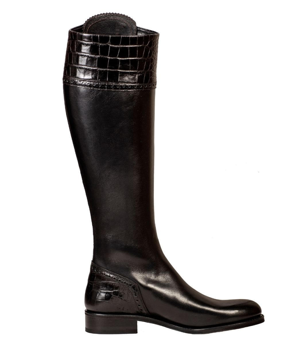 spanish boot company spanish riding boots mock croc chocolate black