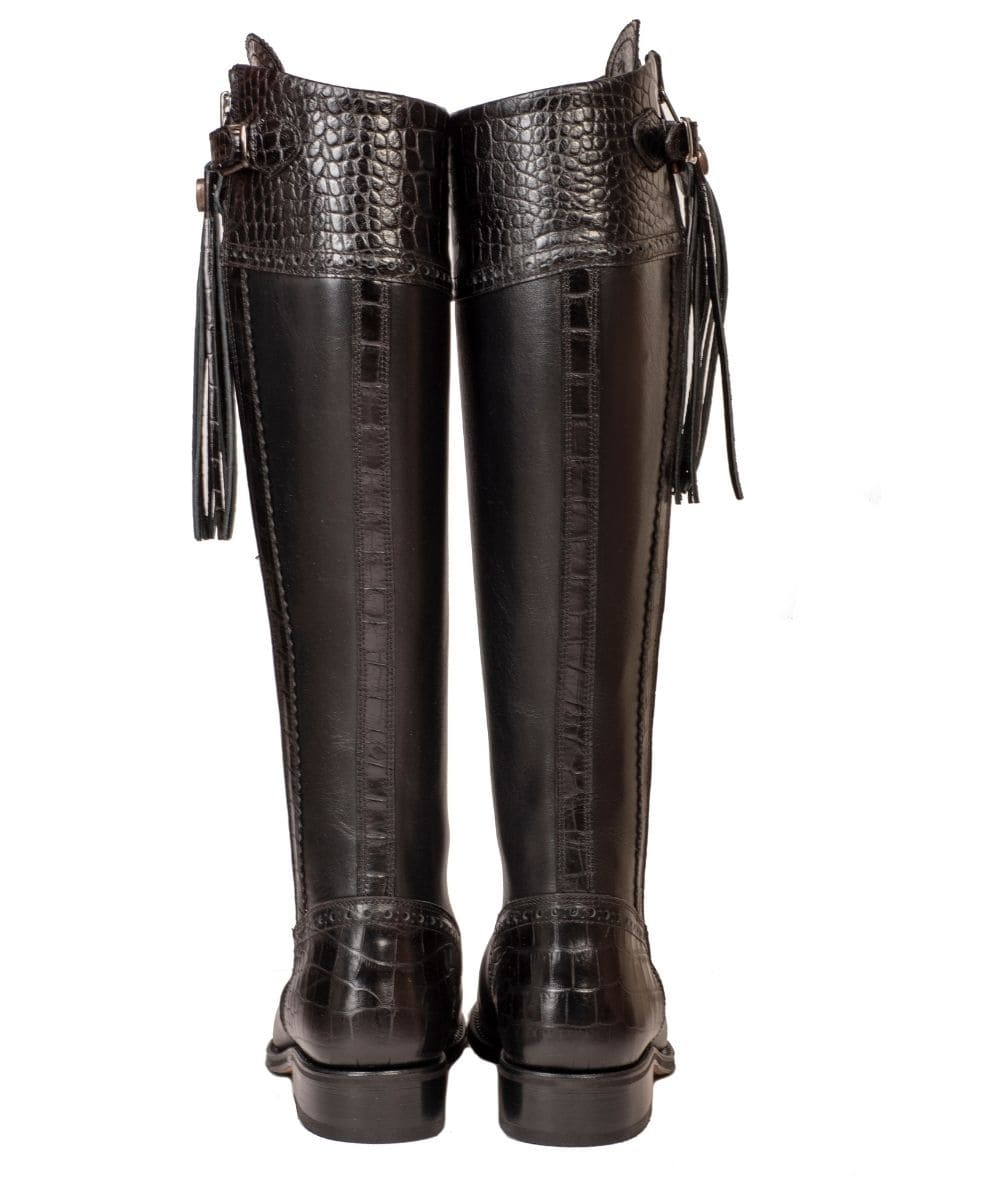Made to Measure: Spanish Riding Boots: Black Mock Croc